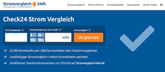PLZ Stromverbrauch Check24-Strom Kurzrechner