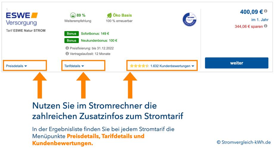 Stromkostenrechner Stromtarif-Infos