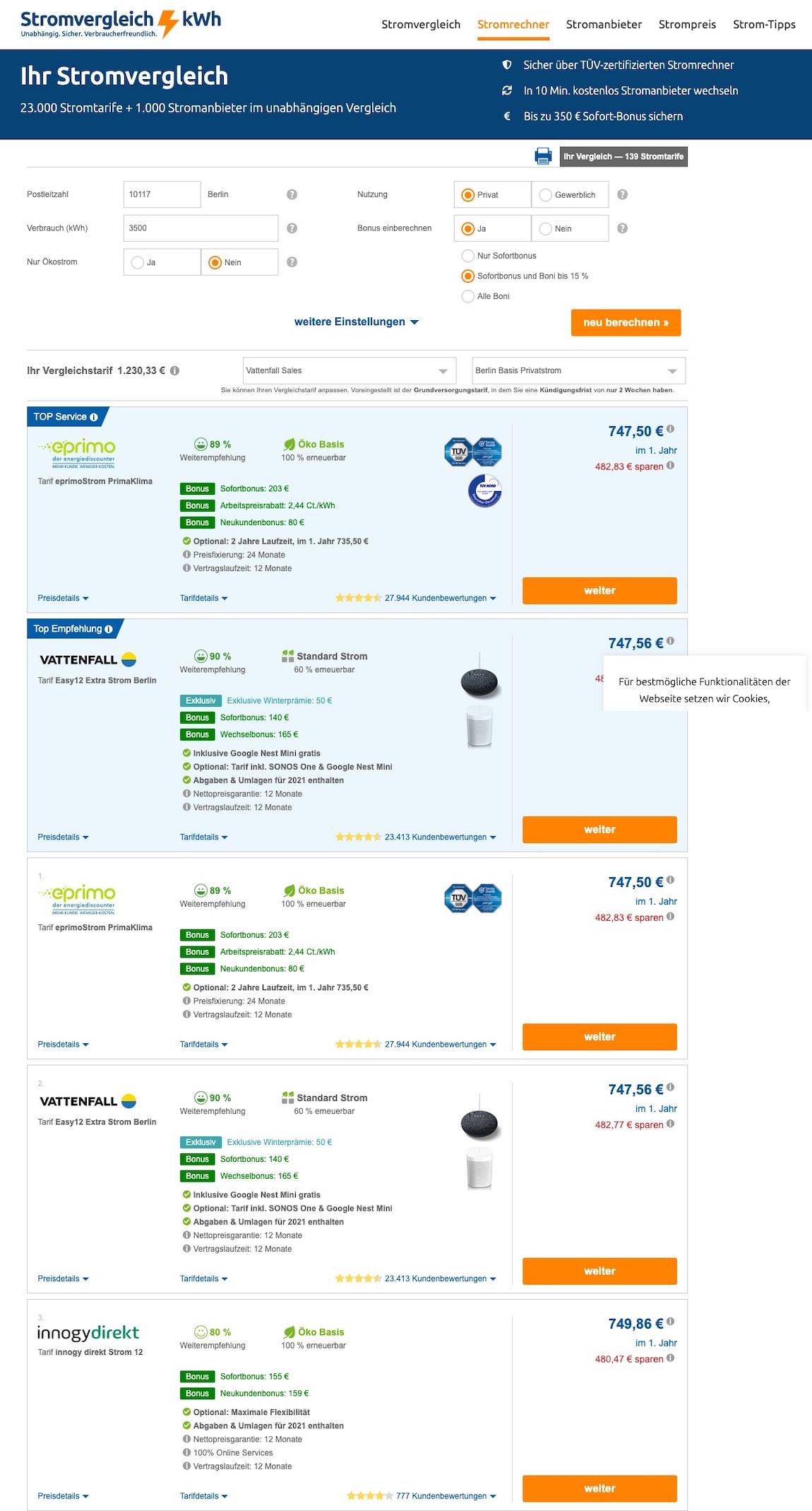 eprimo-Strompreise im Stromvergleich